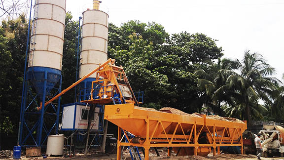 UNIQUE HZS50 Concrete Mixing Plant in Bangladesh