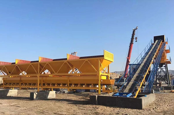 One Set HZS90 Concrete Mixing Plant installed in Uzbekistan