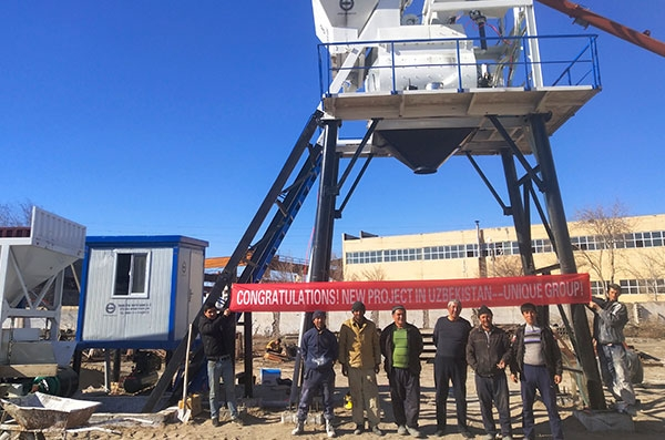 HZS35 Concrete Batching Plant installed in Uzbekistan